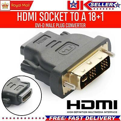 AU5.13 • Buy DVI-D 24+1 Male To HDMI Socket Adapter Converter Joiner GOLD