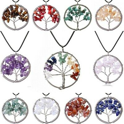 £4.89 • Buy Tree Of Life Pendant Necklace 7 Chakra Natural Gemstone Crystal Stones Silver