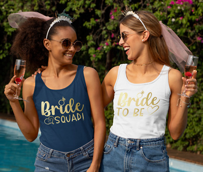 £11.99 • Buy Hen Party Tank Vest Top Bride To Be Bride Squad Gold Print Personalise Gift Idea