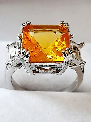 £5.50 • Buy 925 Sterling Silver Princess Cut Citrine Unisex Wedding Party Ring Size R