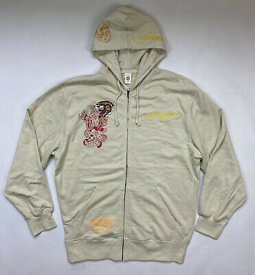 £70.82 • Buy Ed Hardy By Christian Audigier Vintage White Zip Hoodie Tiger Patch Size XL