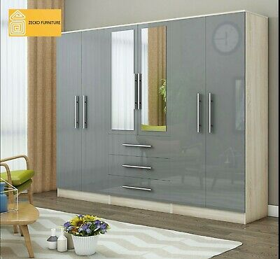 £442.99 • Buy Large 6 Door Mirrored HIGH GLOSS GREY Fitment Wardrobe, 3 Drawer, FREE SHIPPING