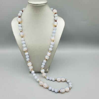 $134.31 • Buy RARE Vintage 10mm Blue Lace Agate & Opaline Peking Crumb Glass Bead Necklace 30