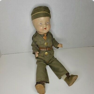 $75 • Buy Composition WWII Boy Doll  Army Military Soldier 15  1940'S Vintage