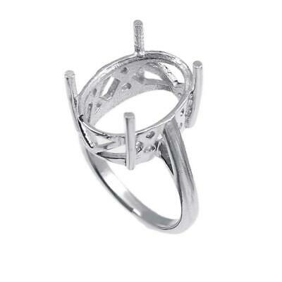 £23.61 • Buy Sterling Silver 13x18 Mm Oval Semi Mount Ring Setting Large Ring Blanks Polished