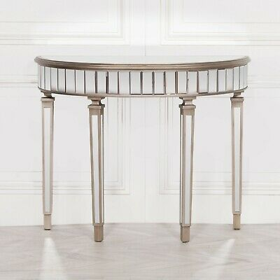 £99.99 • Buy Champagne Silver Half Moon Hall Table Mirrored Venetian Demilune Console SECONDS