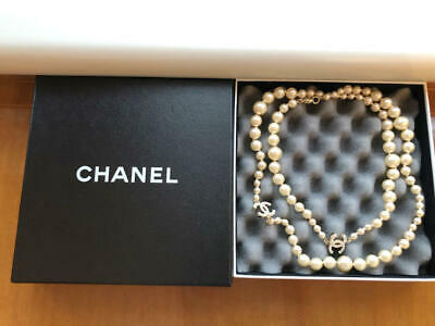 £896.31 • Buy CHANEL Authentic COCO Mark Pearl Long Necklace About 90cm New Unused From Japan