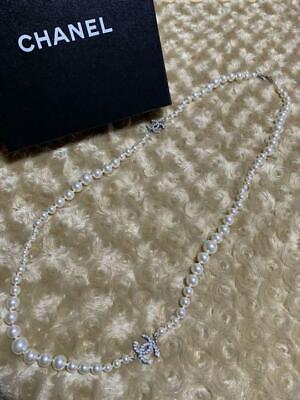 £763.21 • Buy CHANEL Authentic Long Pearl Necklace Silver Color About 90cm Used From Japan