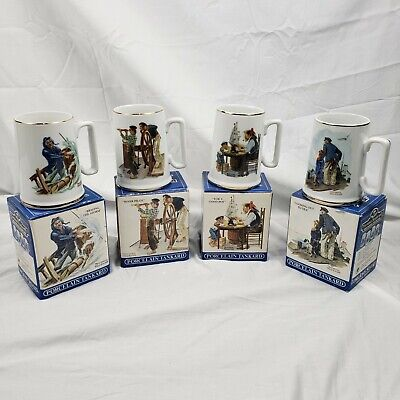 $ CDN29.98 • Buy 4 NORMAN ROCKWELL Seafarers Complete Collection Porcelain Mugs 1985 Japan Made