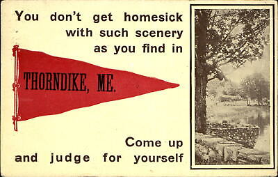 $6.48 • Buy Thorndike Maine Pennant Postcard ~ Hand Cancel 1919 ~ You Don't Get Homesick