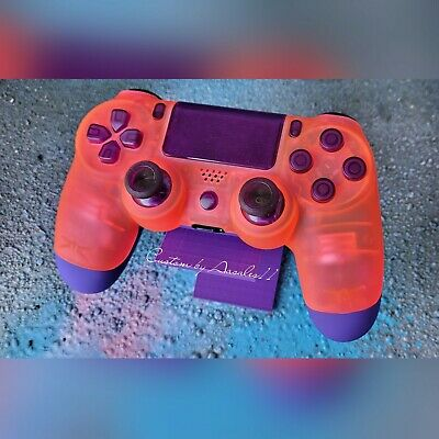 AU187.08 • Buy 💜playstation/ps4 Custom Controller Neon Pink Soft Touch W Dark Purple Back