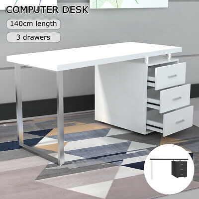 AU166.98 • Buy 140cm Computer Desk Office Home Study Table Student Study Metal Drawer Cabinet
