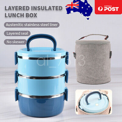 AU35.99 • Buy NEW 3-Layer Stainless Steel Insulated Lunch Box Food Container Leak Proof W/ Bag