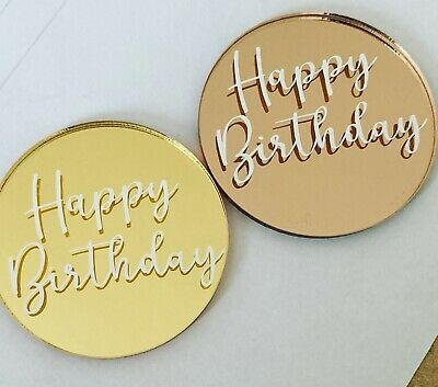 £1.60 • Buy Happy Birthday Cake Charm, Cake Topper, Cake Disc Gold Or Rose Gold Mirror