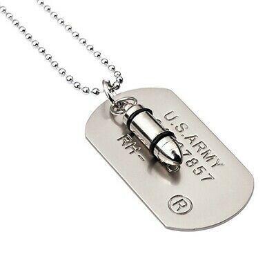 £4.99 • Buy SILVER Bullet Dog Tag Pendant Necklace Military RAMBO ID Tag Ball Chain UK
