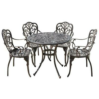 £686.99 • Buy Cast Aluminium Round Dining Table With 4 Chairs  Outdoor Garden Furniture Set