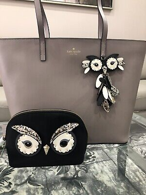 $ CDN200 • Buy NWT Kate Spade Star Bright Little Len Owl Leather Tote Bag + Owl Cosmetic Pouch
