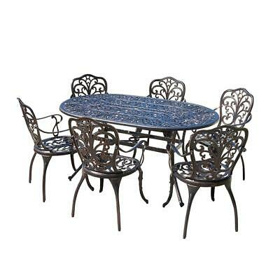 £941.49 • Buy Cast Aluminium Rectangle Dining Table & 6 Chairs  Outdoor Garden Furniture Set