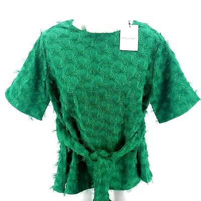 $ CDN34.94 • Buy PEPALOVES ANTHROPOLOGIE Peacock Green Belted Blouse Top Medium And Large