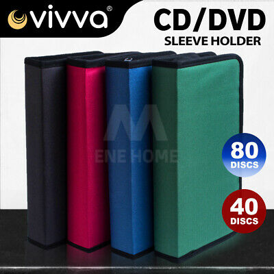 AU12.55 • Buy 40 80 Sleeve CD DVD Disc Disk Carry Case Wallet Bag Storage Folder Ring Binder