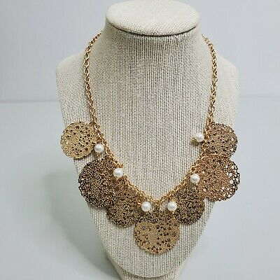 £13.18 • Buy Statement Necklace Gold Tone Faux Pearl Beaded Floral Charms Laser Cut