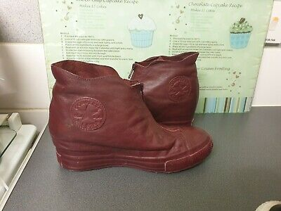 £25 • Buy Unisex Burgundy Wedge Double Upper Leather Converse All Star Size Uk 6