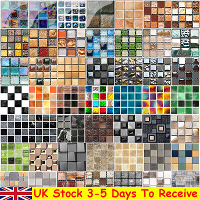 £4.56 • Buy Mosaic Tile Stickers Stick On Bathroom Kitchen Home Wall Decal Self-adhesive UK