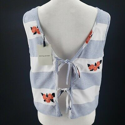 $ CDN33.87 • Buy PEPALOVES ANTHROPOLOGIE Tie Back Floral Striped Blouse Top Camisole XS S M L