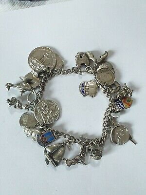 VINTAGE SILVER CHARM BRACELET 57g WITH 25 CHARMS • 70£