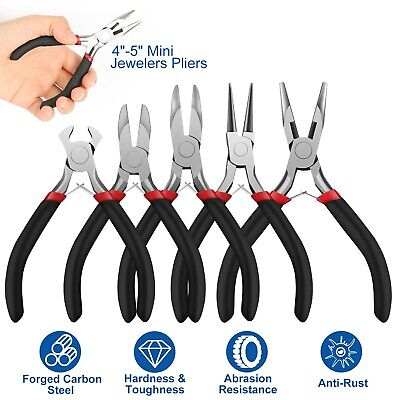 £15.07 • Buy 5Pcs Jewelers Pliers Set Jewelry Making Beading Wire Wrapping Tool Hobby Kit