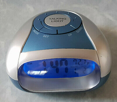 AU24 • Buy Talking Digital LCD Alarm Clock Blue Light. Speaks Time And Temperature