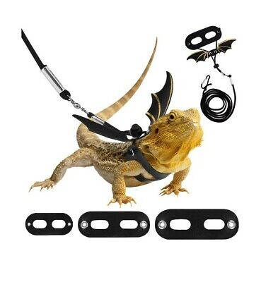 £9.49 • Buy Adjustable Bearded Dragon Harness And Leash Lead, 3 Size Leather Reptile Lizard