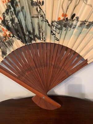 Large Decorative Floral Oriental Chinese Hanging Wall Fan 90cm By 60cm • 18£