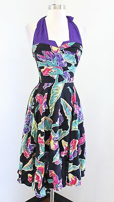 £64.66 • Buy Trashy Diva Black Colorful Tropical Leaf Floral Halter Fit And Flare Dress Sz XS
