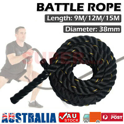 AU52.88 • Buy 9m/12m/15m Battle Rope Muscle Strength Training Exercise Workout Gym Home  38mm