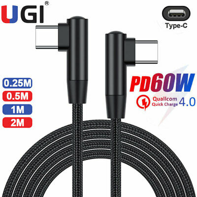 AU4.59 • Buy Double Elbow USB C To USB C Cable Right Angle Type-C PD 60W Fast Charging Black