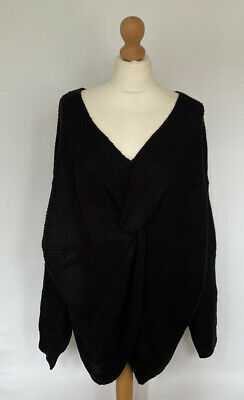 Yours Black Chunky Knit Wrap Front Long Sleeve Slouchy Jumper 22-24 BNWT  • 17£