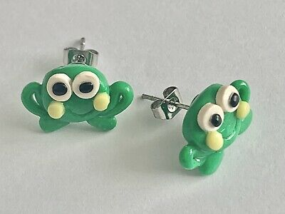 £1.99 • Buy Handmade Polymer Clay Froggy Frog Stud Earrings. Quirky Novilty Jewellery