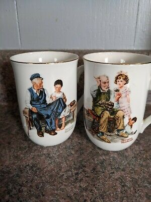 $ CDN18.14 • Buy 2 Norman Rockwell Coffee Mugs The Cobbler And The Lighthouse Keeper's Daughter