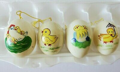 £14.54 • Buy Vintage EGGS Set Of 4 Hand Painted Decorated Blown Out Real Chicken Eggs Easter