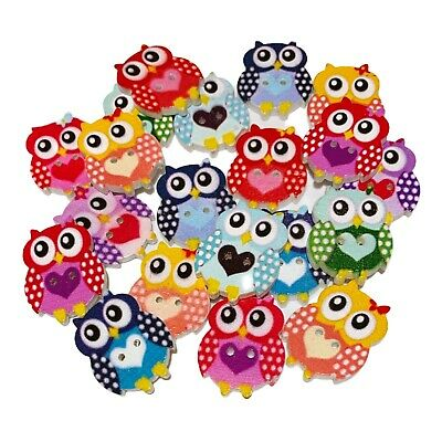 £2.79 • Buy 30 Bright Wooden Owl With Heart Buttons - Craft - Scrapbook - Sew - Cardmaking