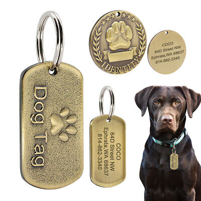 $7.49 • Buy Dog Name Tags Personalized Stainless Steel Pet Tag Laser Etched Round Military