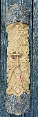 £22.95 • Buy Wizard Green Forest Man Wood Log Carving Hanging Garden Or Home Ornament 50cm