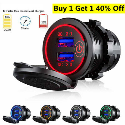 AU16.92 • Buy 12V/24V Fast Car Charger Socket Outlet QC 3.0 Dual USB Port For Car Truck Boat =