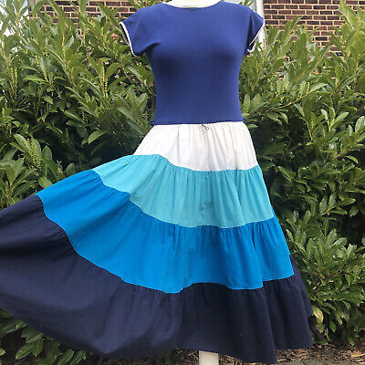 Vintage Dress Stripe Blue White Turquoise Almost Circle Skirt Tiered 50s 10 12 • 21.99£