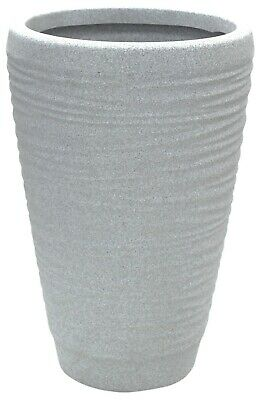 £22.99 • Buy Large Ribbed Stone GREY Planter Plant Pot 56cm Tall Indoor & Outdoor Planter