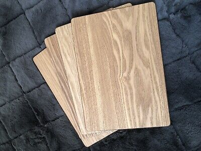 Set of 4 Placemats and 4 Coasters Brown Wooden Oak Table Setting Mats