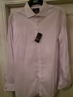 £24.50 • Buy Mens BNWT M&S SARTORIAL Lilac Shirt 17  Collar With Double Cuffs