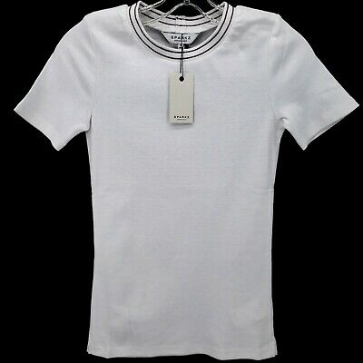 $ CDN16.44 • Buy ANTHROPOLOGIE SPARKZ Soft Stretch Ribbed Tee Shirt White XS S M L