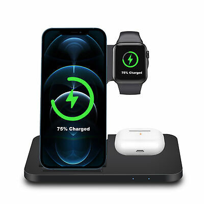 $ CDN11.24 • Buy 3in1 Wireless Charging Station Charger Stand For Apple Watch Air Pods IPhone 12